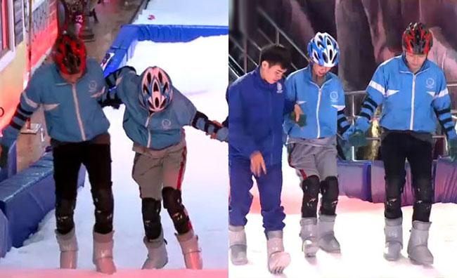 Sau đó, cả hai phải tháo ván trượt, học cách leo lên và leo xuống