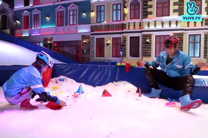 Tiếp theo, Khởi My và Kelvin Khánh đến với trò chơi nặn người tuyết và sau đó phải phá nát thành quả của đối phương. Ở phần thi này, Khởi My nhanh chóng tạo ra một cô người tuyết đang nằm phơi mình trên bãi biển. Kelvin Khánh lại loay hoay