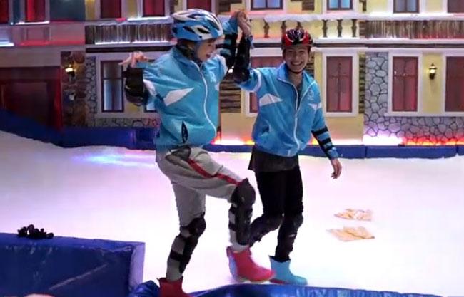 Khởi My, Kelvin Khánh nắm tay nhau học trượt tuyết