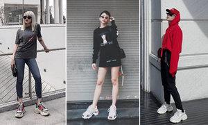 Đủ kiểu 'chinh phục' giày đế thô của fashionista Việt