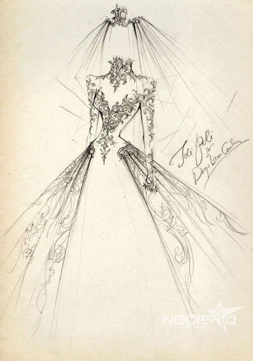 Việc lựa chọn phom dáng không phải là vấn đề phức tạp bởi cô dâu Diệp Lâm Anh có lợi thế về ngoại hình cao ráo, số đo ba vòng gợi cảm. Vì thế, nhà thiết kế đã chọn kiểu váy bồng bềnh với hoa văn gothic cổ điển làm điểm nhấn thu hút sự chú ý của mọi người.