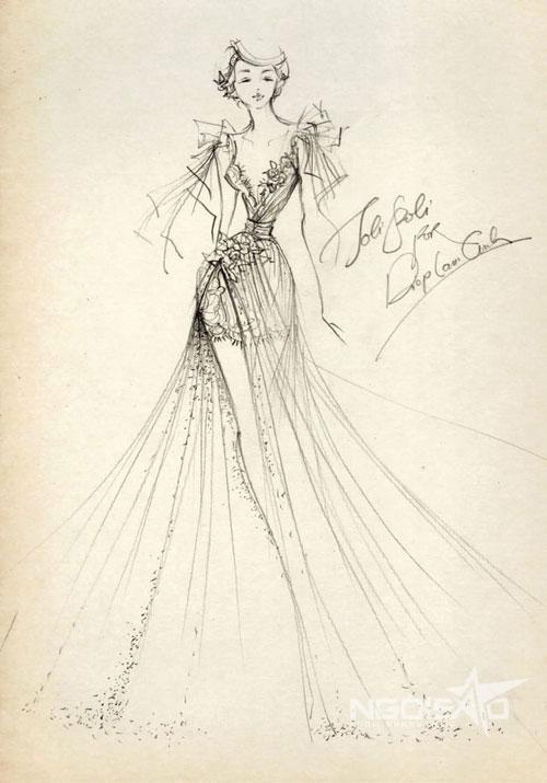 Chiếc váy evening gown còn lại được thiết kế đơn giản nhưng mang hơi thở của thời trang đương đại, tạo phong cách khác biệt so với mẫu váy trên.