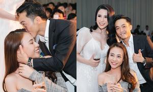 Cường Đô La âu yếm hôn bạn gái trong tiệc cưới của Diệp Lâm Anh