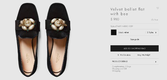 Mẫu ballet flat nhung đen có giá gần 1000 USD (khoảng 22 triệu đồng).