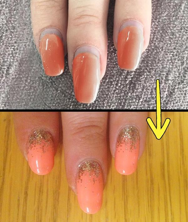 Khi móng tay dài ra mà chưa có thời gian làm bộ móng mới, hãy phủ thêm một lớp sơn nhũ ở phía đầu móng