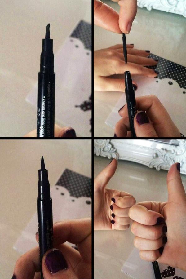 Khi bút dạ kẻ mắt bị khô hay gần hết mực, hãy thay ngược đầu bút để tiếp tục sử dụng trước khi có thời gian đi mua cây mới.