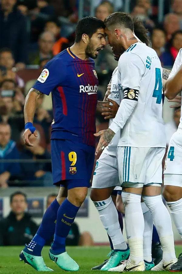 Trận derby Tây Ban Nha diễn ra rất căng thẳng sau đó với tâm điểm là Suarez, Sergio Ramos.