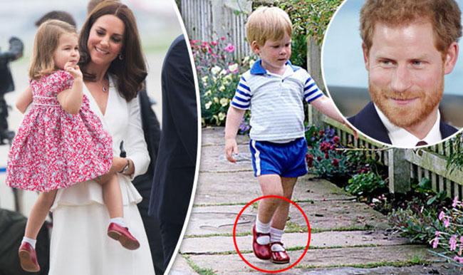Charlotte được mẹ cho diện lại giày cũ của chú Harry. Ảnh: Daily Express.