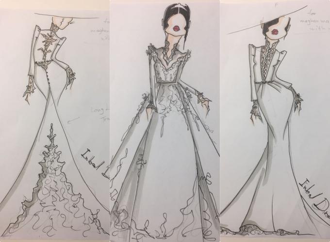 Ba bản phác thảo mà nhà thiết kế đã gửi là mẫu váy mang phom dáng ôm đuôi cá, váy đuôi xoè rộng bồng bềnh và mẫu có phom ôm sát cơ thể. Tuy nhiên, 3 bản phác thảo mới chỉ mang tính định hướng, chưa thể khẳng định mẫu nào sẽ được chọn làm thiết kế cuối cùng cho đám cưới hoàng gia.Ảnh: Cosmopolitan.
