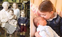 Công chúa Charlotte mượn áo của anh trai để chụp ảnh với Hoàng tử Louis