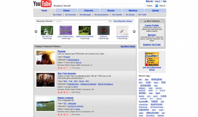 Giao diện Youtube năm 2006, thời điểm đánh bại Google Video và được chính Google mua lại. Ảnh:Business Insider.