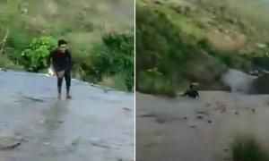 Thanh niên suýt chết khi trèo lên thác nước cao 15 m để selfie