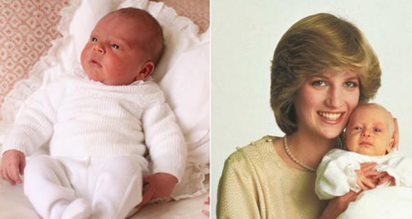 Hoàng tử bé Louis Arthur Charles (ảnh trái) được nhận xét giống hệt bố William (ảnh phải)ngày bé. Ảnh: Kensington Palace.