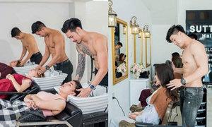 Salon Thái Lan thuê trai đẹp cởi trần gội đầu cho khách