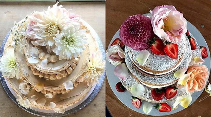 Một số bánh gato ba tầng xinh xắn do đầu bếp Ptakthực hiện được phủ đầy kem bơ và hoa tươi xinh xắn. Ảnh: Instagram Violet By Claire Ptak.