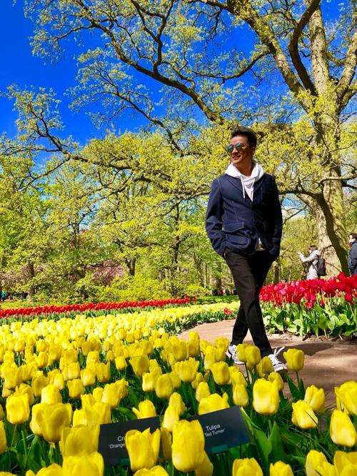 Nhiều sao Việt đã tranh thủ thời điểm vàng này để đến Hà Lan, ngắm những thảm hoa rực rỡ sắc màu trong tiết trời mùa hè. Cuối tháng 4, Mr. Đàm cũng vừa có chuyến đi Lạc vào vườn xuân tình ngất ngây với cả một trời bạt ngàn hoa tulip.