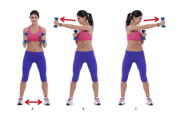 Động tác thứ hai lấy cảm hứng từ bộ môn boxing. Hai tay cầm hai quả tạ nhỏ theo chiều dọc, hai chân đứng rộng hơn một vai, lần lượt nghiêng người đấm tay thẳng sang hai bên. Thực hiện động tác 20 lần mỗi bên.