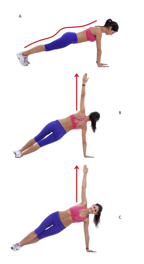 Chuẩn bị ở tư thế chống đẩy, nghiêng người lần lượt sang hai bên với cánh tay mở rộng, hướng thẳng lên trời. Thực hiện động tác 20 lần mỗi bên.