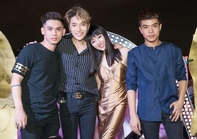 Ca sĩ Đại Nhân, Châu Đăng Khoa và nhạc sĩ Đỗ Hiếu đến quẩy cùng cô bạn đồng nghiệp xinh đẹp.