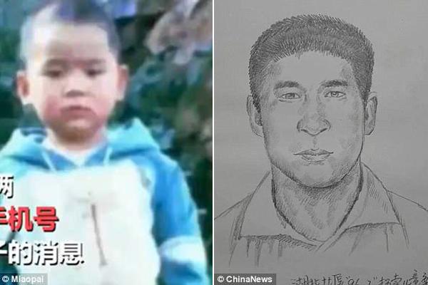Dựa trên bức ảnh 22 năm trước (trái), họa sĩ phác họa hình ảnh hiện tại của Pengpeng (phải). Ảnh: Miaopai/ChinaNews.