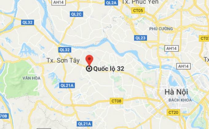 Vị trí vụ tai nạn trên Quốc lộ 32 thuộc xã Đại Đồng, Thạch Thất.