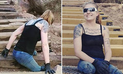 Cô gái cụt hai chân leo 2.700 bậc dốc trong 4 tiếng