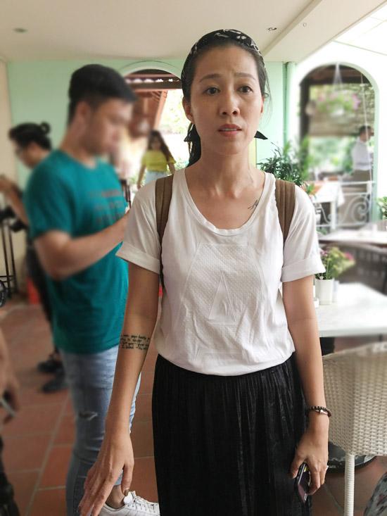 Mây Phạm, bà xãPhạm Anh Khoa xuất hiện tại buổi gặp gỡ báo chí chiều 15/5 tại TP HCM.