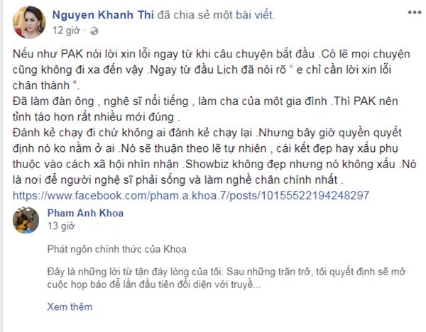 Khánh Thicho rằng nếu Phạm Anh Khoa chịu xin lỗi ngay từ đầuthì mọi chuyện sẽ không đi quá xa.