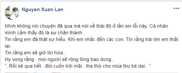 Siêu mẫu Xuân Lan đánh giá cao lời xin lỗi chân thành lần này của Phạm Anh Khoa.