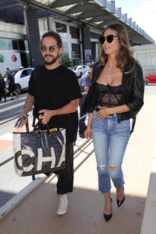 Heidi Klum và phi công trẻ Tom Kaulitz đến Cannes hôm 15/5. Siêu mẫu Đức tham dự những hoạt động thời trang và từ thiện những ngày cuối trong khuôn khổ liên hoan phim.