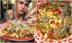 'Thánh ăn cay Thái Lan' gây sốt khi nhai gỏi vé số