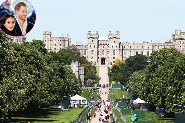 Người dân khắp nước Anh đang đổ về Lâu đài Windsor để được ngắm nhìn đôi uyên ương hoàng gia. Ảnh: US Magazine.