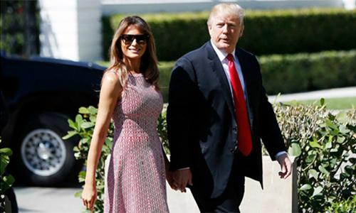 Vợ chồng tổng thống Mỹ Donald Trump. Ảnh:AP.