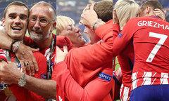 Griezmann ôm bố mẹ, hôn vợ con mừng chiến thắng