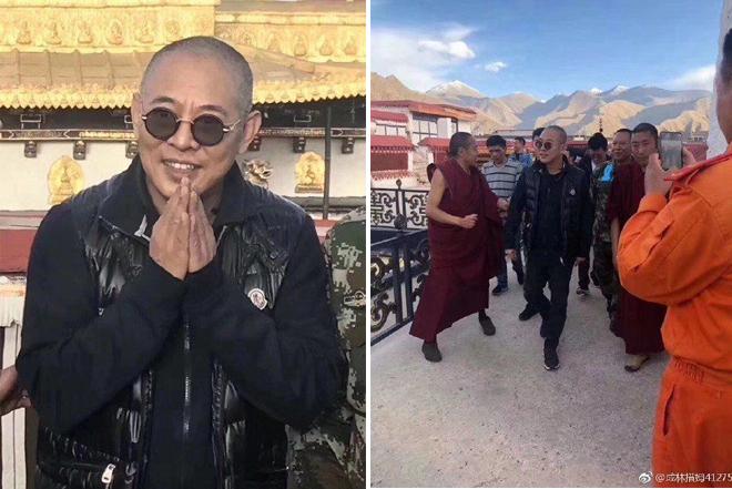 Lý Liên Kiệt xuất hiện ở Tây Tạng hồi đầu tháng 5, anh cạo trọc mái tóc.