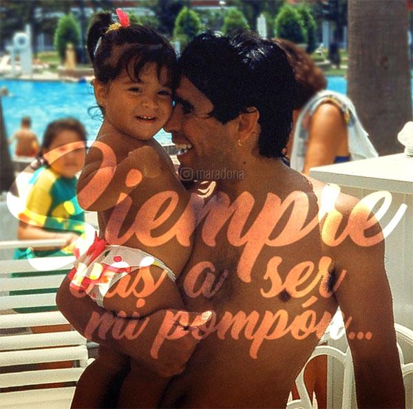 Maradona đăng ảnh cũ để chúc mừng sinh nhật con gái Giannina. Ảnh: NN.