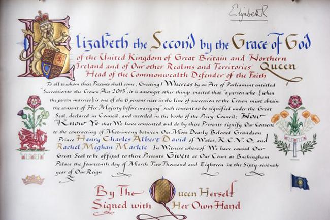 Bức thư tán thành hôn sự của Meghan và Harry do Nữ hoàng ký tên. Ảnh: Pinterest.