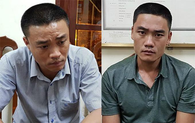 Hai anh em ruột Lân, Dũng từ trái qua tại cơ quan điều tra. Ảnh: Sơn Hà
