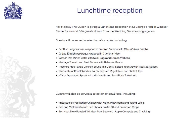 Thực đơn tiệc cưới được đăng tải trên website của Hoàng gia Anh.