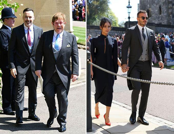 Cặp đôi Elton John - David Furnish và vợ chồng Becks khi tới đám cưới. Hai gia đình vốn rất thân thiết từ nhiều năm nay.