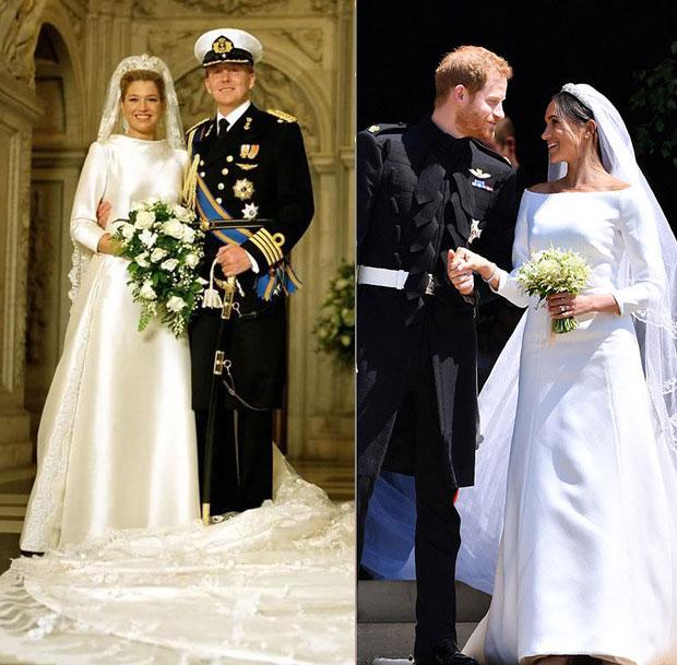 Cả hai cô dâu hoàng gia để lựa chọn khăn voan dài thêu ren để kết hợp cùng váy cưới trơn.