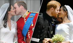 Sự đối lập của hai hoàng tử Anh khi hôn cô dâu trong ngày cưới