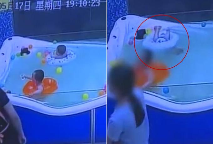 Cậu bé trước và sau khi chiếc phao bị lật. Ảnh chụp từ video.