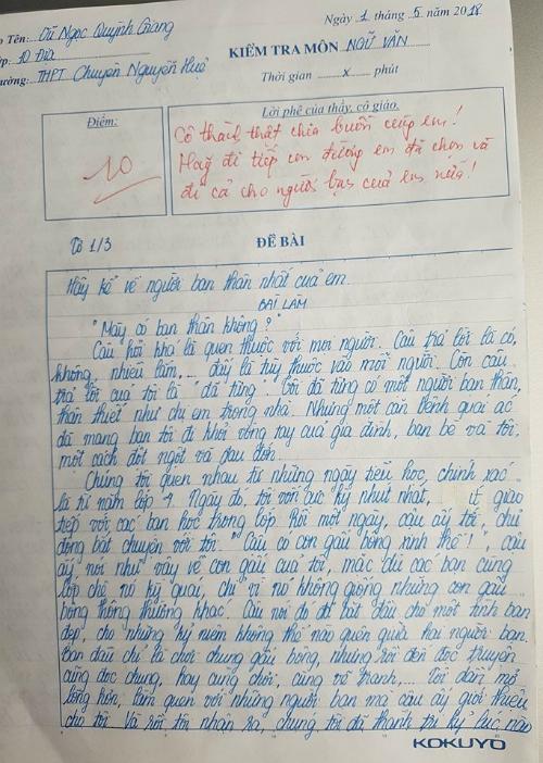 Bài văn điểm 10 của Quỳnh Giang.