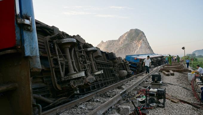 Tai nạn tàu SE19 là một trong những vụ tai nạn đường sắt lớn nhất từ trướctới nay ở Thanh Hoá. Ảnh: Lê Hoàng.