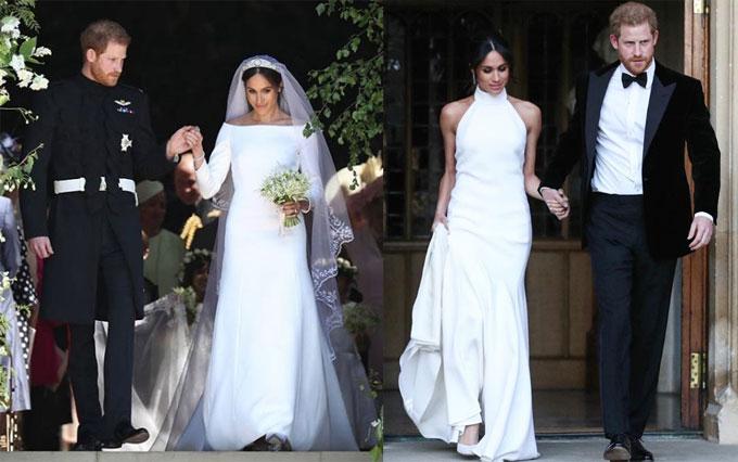 Công nương xứ Sussex diện váy cưới thương hiệu Givenchy (bên trái) và thiết kế của Stella McCartney trong ngày trọng đại.