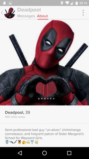 Deadpool có cả hồ sơ cá nhântrên ứng dụng hẹn hò Tinder. Ảnh:Wired.