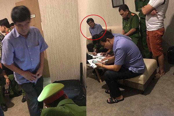 Ông Nguyễn Xuân Gụ làm việc với công an đêm 24/5.