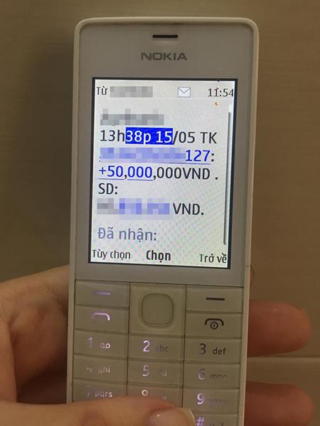 Bạn ấy đã chuyển 50 triệu đồng vào tài khoản cho tôi trưa ngày 15/5. Ảnh Thắng Lan