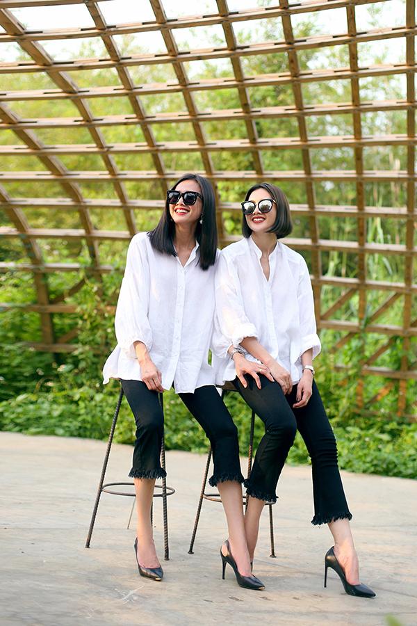 Anh Thư - Dương Mỹ Linh mặc ton-sur-ton, giống nhau như chị em